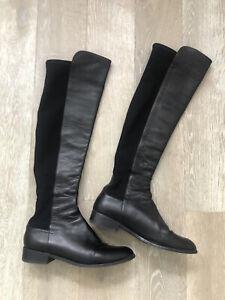 STUART WEITZMAN Black Pull On Leather Knee High Boots-40-UK7-L@@K!