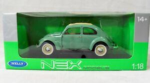 Welly Nex Volkswagen Classic Beetle 1:18 Scale Die Cast Model 18140W Light Green