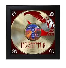 Led Zeppelin Laser Cut Gold Record With Poster Art Shadowbox C3