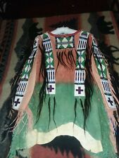 Native American Inspired Brain Tanned Leather Beaded Shirt