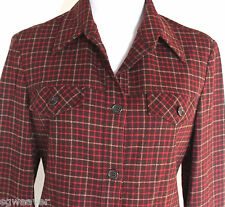 Women's Size 10 (42) Benetton Wool Plaid Lined Button Front Jacket Made In Italy