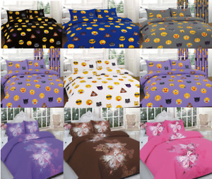 Luxury Printed Duvet Cover Set With Matching Pillow Cases All UK Sizes