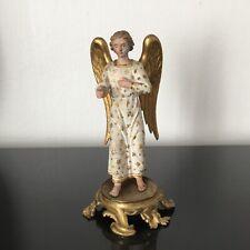 Statue Ange en Bois Doré et Peint XVIIIè sur Socle en Bronze 18thC Wooden Angel