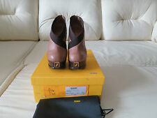 $895 FENDI Fendista Elastic Wrap Collar Platform Booties Pumps 37.5 7
