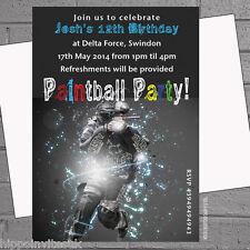 Paintball paintball anniversaire activité fête invitations x 12 + Envs H0393