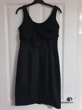 H&M BLACK LBD STRAPPY GATHERED TOP RIBBON BOW WAIST TRIM STRETCHY SHIFT DRESS 10