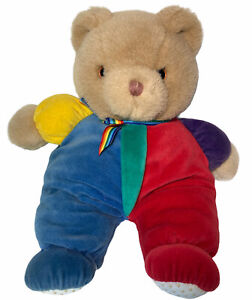 "Eden Teddy Bear Plush 90s Velour Primary Colors Rainbow Bow VTG 12"" *imperfect"