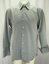Borelli Men Dress Shirt Size 15.5 R Black White Striped French Cuffs 100% Cotton