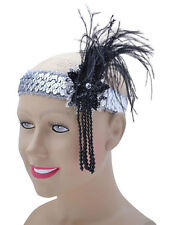 Silver Sequin Feather Headband Flapper Charleston 1920's Fancy Dress Gatsby New