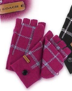 BNWT Beautiful Designer Ladies COACH Logo Wool Mitten Gloves Pink One Size