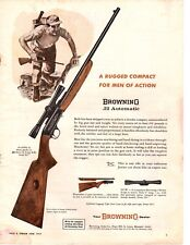 1964 Browning .22 Automatic Rifle Rugged Men of Action Vintage Print Ad