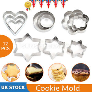 12pcs Mini Stainless Steel Fruit Vegetable Cookie Shape Cutters Kid Food Mold Se