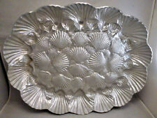 Arthur Court Scallop Shell Seashell Sandcast Aluminum Serving Tray 1980
