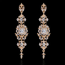 GORGEOUS 18K GOLD PLATED CLEAR AUSTRIAN CRYSTAL LONG DANGLE STATEMENT EARRINGS