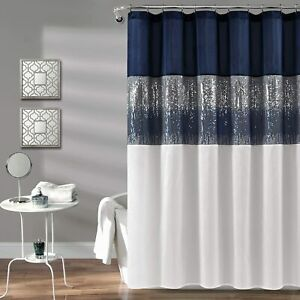 Lush Decor, Navy and White Night Sky Shower Curtain | Sequin Fabric Shimmery Col