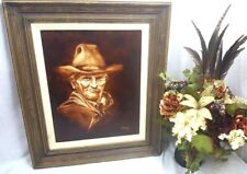 Creepy Ghost Cowboy Vintage Texan Western Framed Signed Stirling Oil Painting
