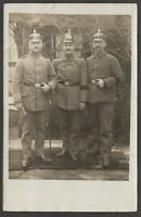 Postcard German Military WW1 three soldiers Pickelhaube helmets 1917 RP