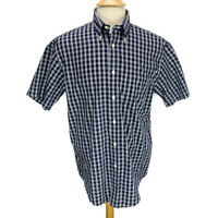 Brooks Brothers 346 Mens Short Sleeve Button Down Shirt Navy White Plaid Size M
