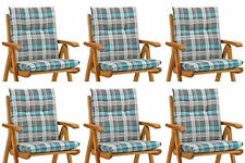 6 Kettler Auflagen grau blau für Sessel Niederlehner Niedriglehner Stühle Kissen