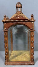 Antique Tramp Art Style Carved Wood Cigar Box Old Glass Size Folk Display Case