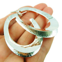 Large Hoops 925 Sterling Silver Oval Drop Earrings