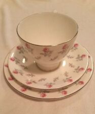 ROYAL ALBERT WINSOME SILVER GILD  - TEA CUP/SAUCER/SIDE PLATE - 4 SETS AVAILABLE