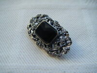 Vintage art deco style sterling silver black onyx marcasite stones brooch pin