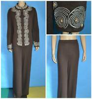 St John Collection Knits Brown Jacket & Pants L 12 14 2pc Suit Cream Emebroidery