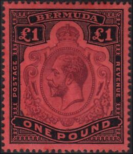 British Commonwealth 1920 - Bermuda £ 1 black and lilac on red paper