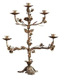 Victorian Trading Co NWOT Holly & Bells Brass Gilded Candelabra Candle Holder 3A