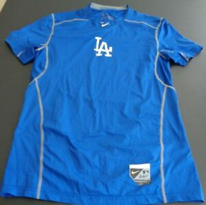 LOS ANGELES DODGERS Hypercool NIKE Pro Combat Size MEDIUM Fitted Shirt MLB Blue