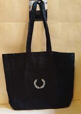 NEW FRED PERRY Collection Black Large LOGO Shopper Shoulder TOTE Handbag Bag