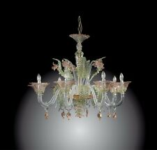 Elegant Murano glass chandelier 8 light green, pink, gold and crystal