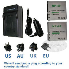 2X NP-40 Battery+Charger for Casio EXILIM EX-Z1050 EX-Z1000 EX-Z850 EX-Z750 Cam