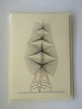 HANDMADE STITCHED CARD -  TALL SHIP - BIRTHDAY CARD - FATHERS DAY