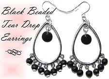 ~TEAR DROP WITH BLACK BEAD EARRINGS~Silver~