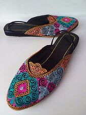 Ethnic Moroccan Boho Multi-Color Fabric Mules Slippers Shoes Women's HiddenJuel