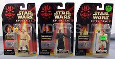 Star Wars Episode 1 OBI WAN KENOBI, DARTH MAUL & QUI GON JINN Figures '99 NIP