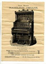 Vintage Advertisement HAMILTON ORGANS DH Baldwin & Co w prices