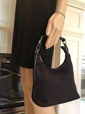 Vintage Dark Brown Leather GUCCI Canvas Shoulder Hobo Hand Bag Monogram