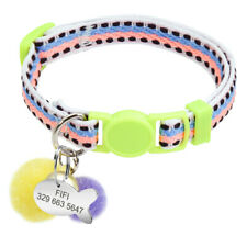 Personalised Breakaway Cat Collar with Bell and Free Name ID Tag for Kitten