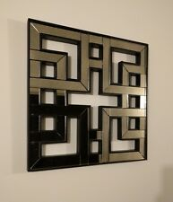 Cyan Akari - Chinese Fretwork Lattice Mirrored Wall Single Panel - Wood Glass