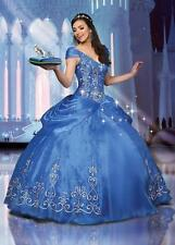 Blue Crystal Cinderella Girls' Quinceanera Dress Princess Prom Party Ball Gown