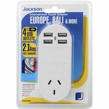 Outbound Travel Adaptor Europe Bali w 4 Fast USB Outlets International Adapter