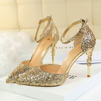 Women Glitter Pumps Stilettos Pointed Toe Straps High Heels Ladies Party Shoes