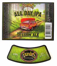 """Founders Brewing ALL DAY IPA - SESSION ALE beer label MI 12oz Var. #2 No """"Recycl"""