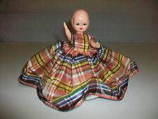 """Vintage Hollywood Doll Hard Plastic Plaid Dress 5"""""""