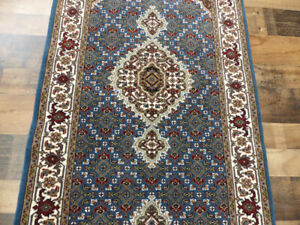 "2'6""x10' New Blue Hand Knotted wool & Silk fish Tabrizz Mahi Dense rug runner"