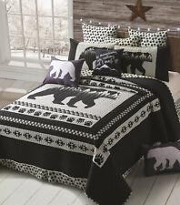 Moon Black Bear Paw 3p * King Quilt Set : Mountain Grey Cabin Southwestern