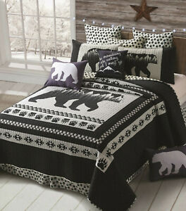MOON BLACK BEAR PAW 3p ** King QUILT SET : MOUNTAIN GREY CABIN SOUTHWESTERN